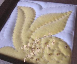 額入りシャドーキルト 15×15 パンノキデザイン
